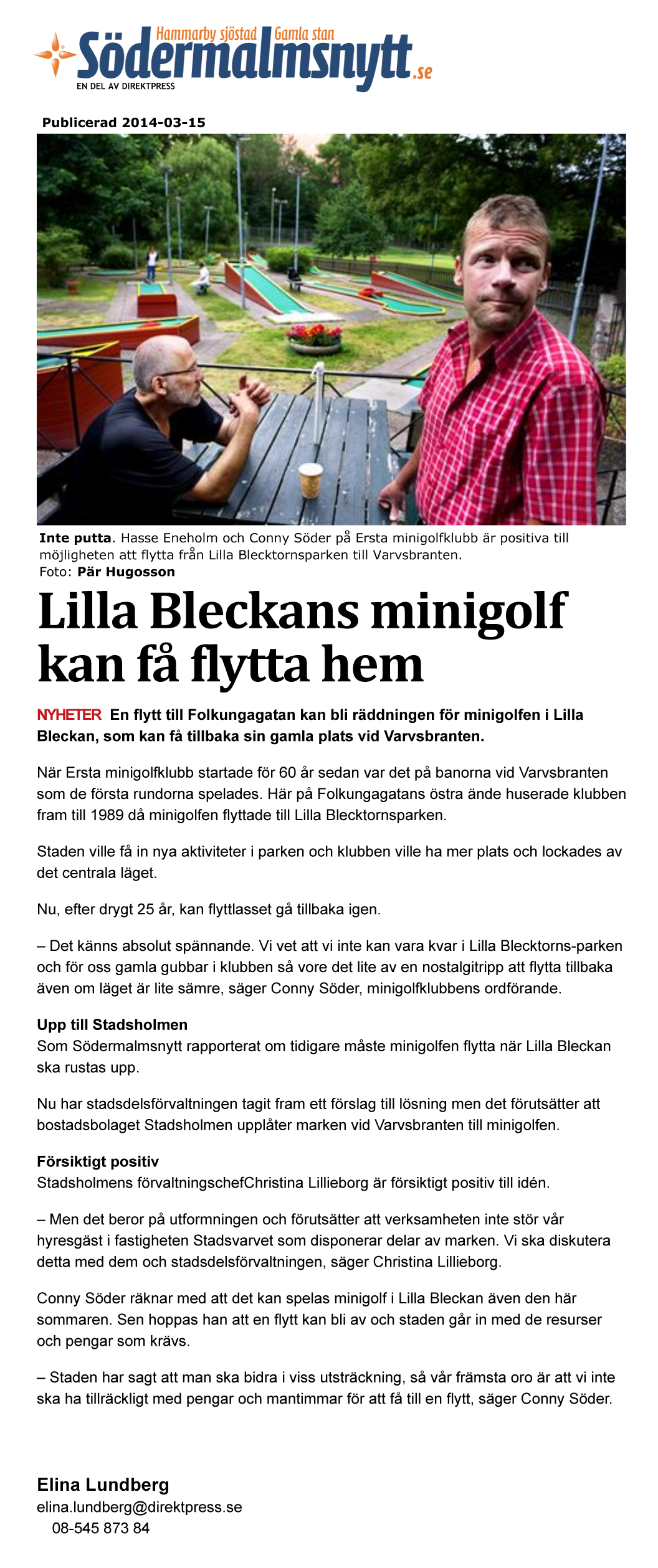 Lilla Bleckans minigolf kan få flytta hem - Nyheter - sodermalm